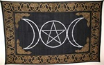 Black and Gold Triple Goddess Tapestry