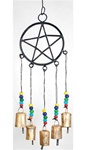 Metal Pentagram with beads Wind Chime
