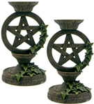 Pentagram and Ivy candle holder pair