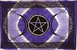 Purple Triple Moon Tie-Dye Tapestry