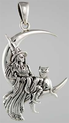 Silver moon witch pendant aloadofball Image collections