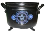 Pentagram Painted Iron Cauldron